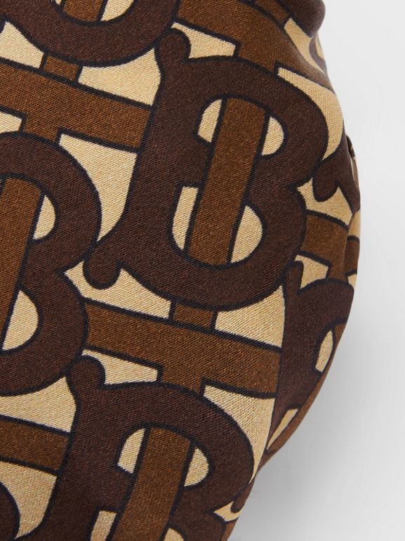 Monogram Print Silk Chignon Cover in Brown - Women | Burberry - cell image 1
