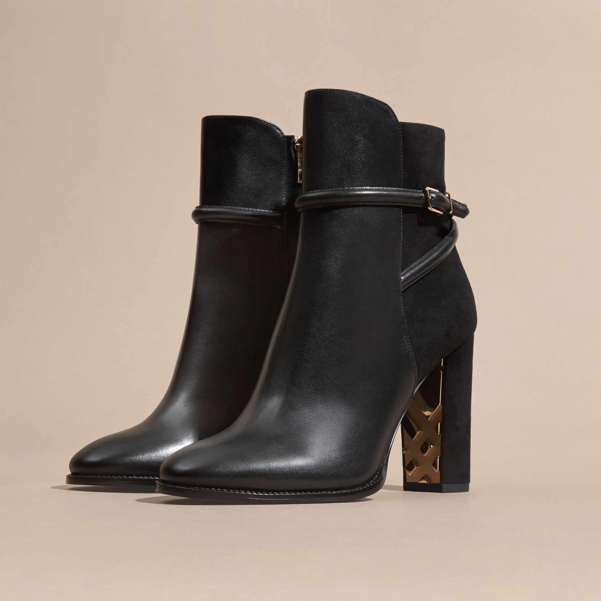Black Strap Detail Leather and Suede Ankle Boots Black - gallery image 3