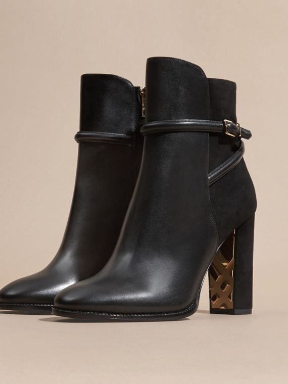 Black Strap Detail Leather and Suede Ankle Boots Black - cell image 2