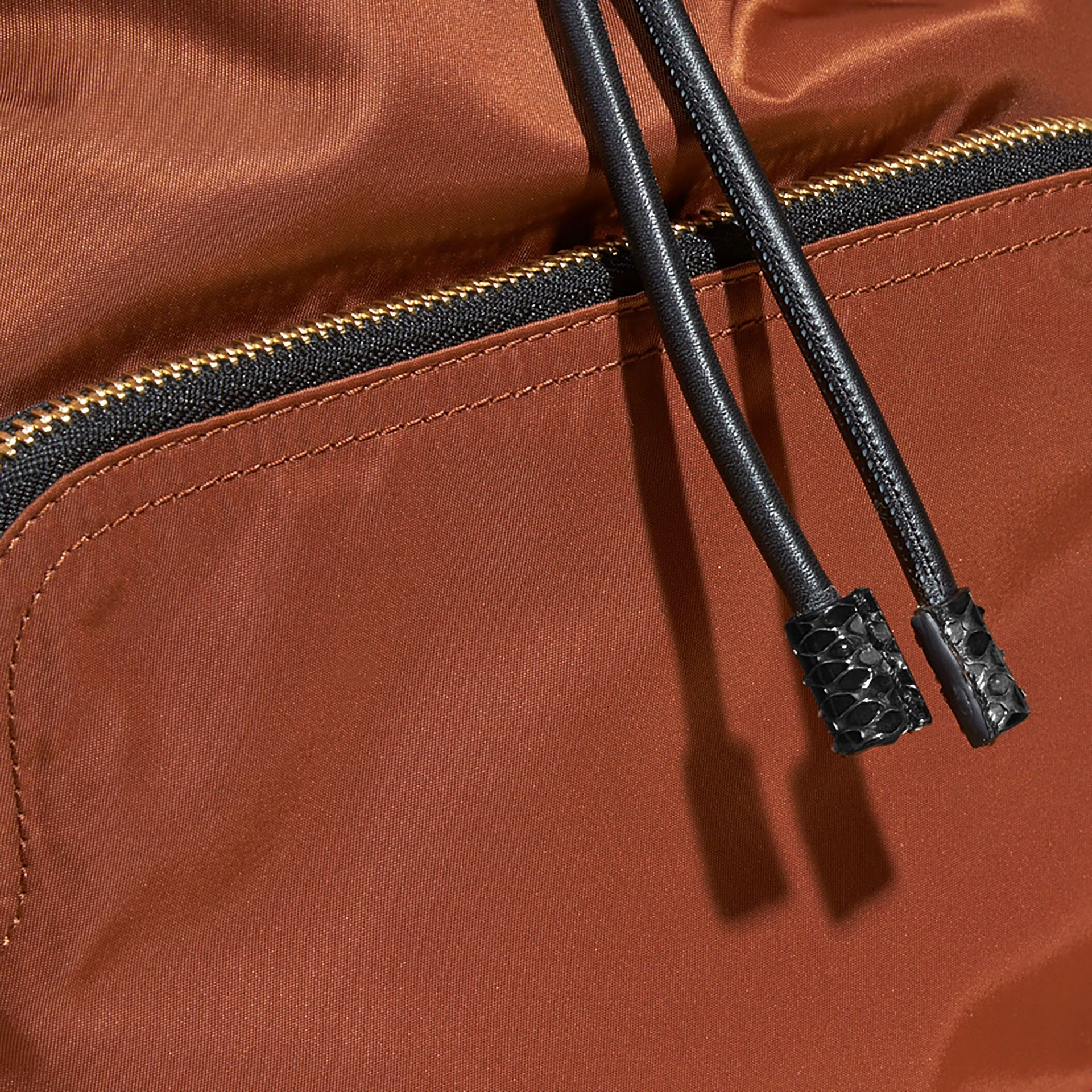 The Large Rucksack in Technical Nylon and Snakeskin Redwood/tan - gallery image 2