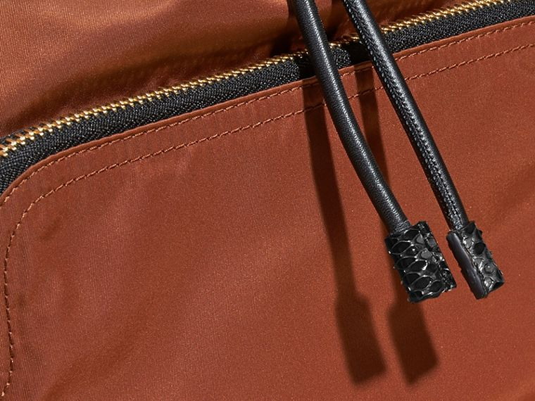 The Large Rucksack in Technical Nylon and Snakeskin in Redwood/tan - Women | Burberry - cell image 1