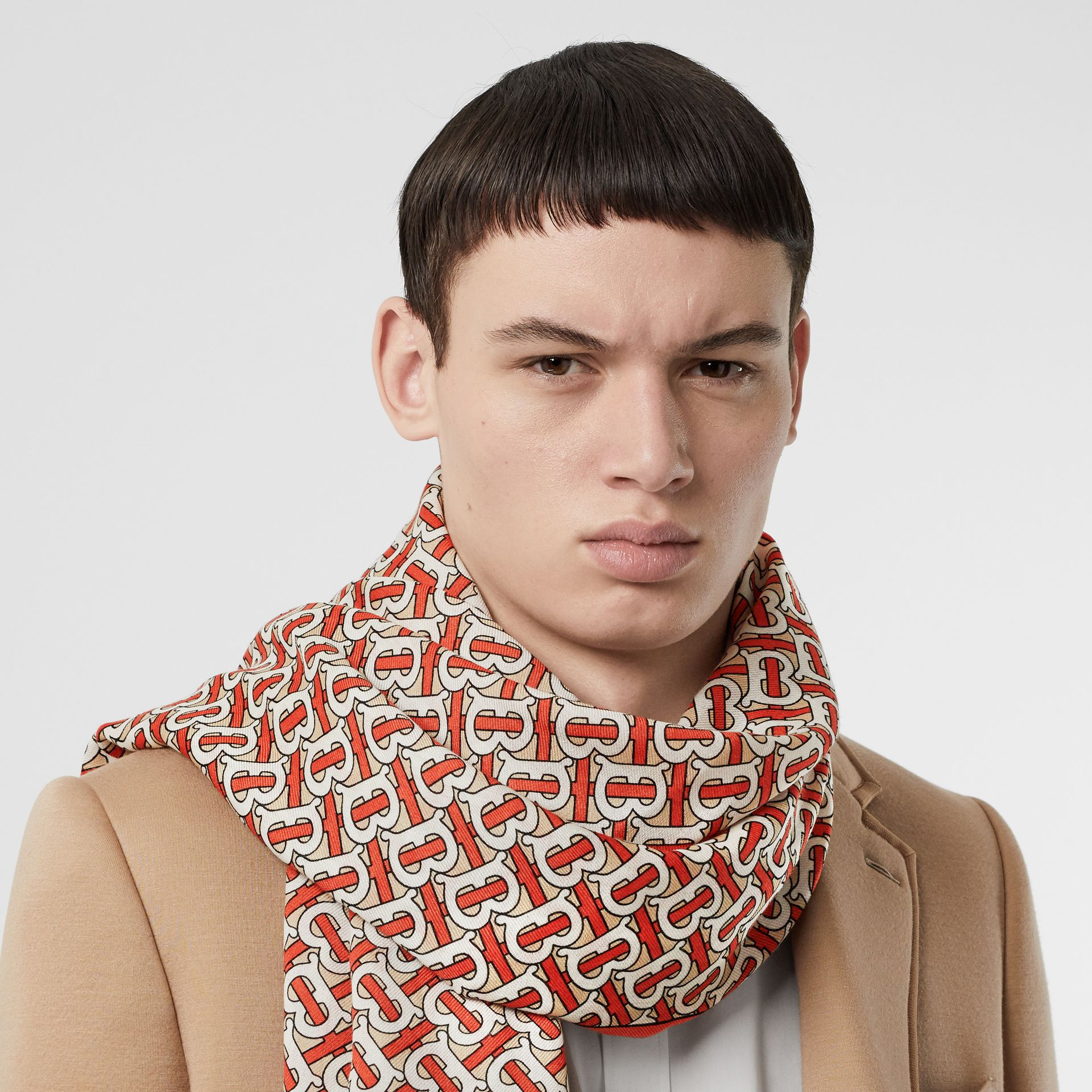 Monogram Print Lightweight Cashmere Scarf in Vermilion | Burberry United Kingdom - gallery image 3