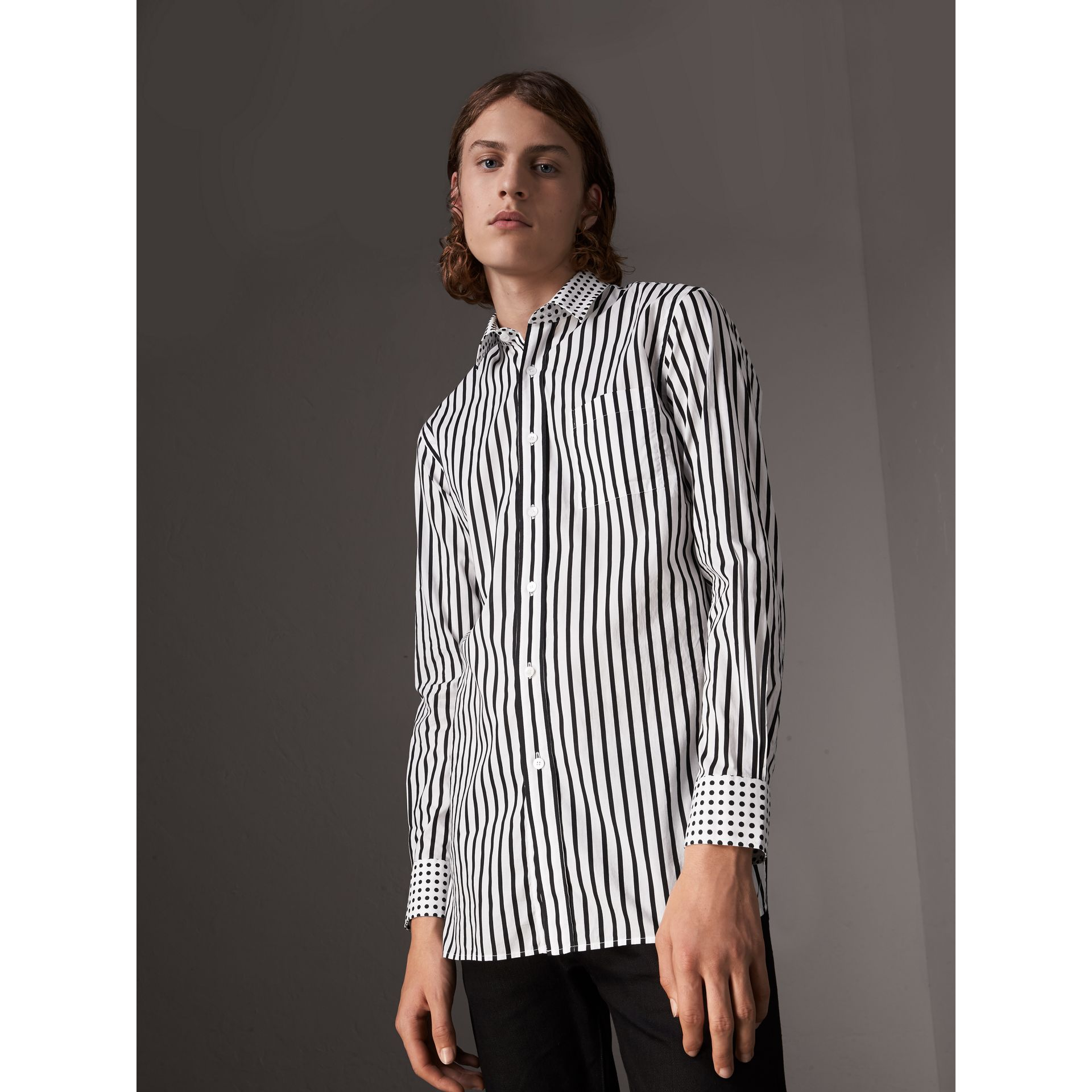 Stripe and Spot Print Cotton Shirt in Black - Men | Burberry Singapore - gallery image 5
