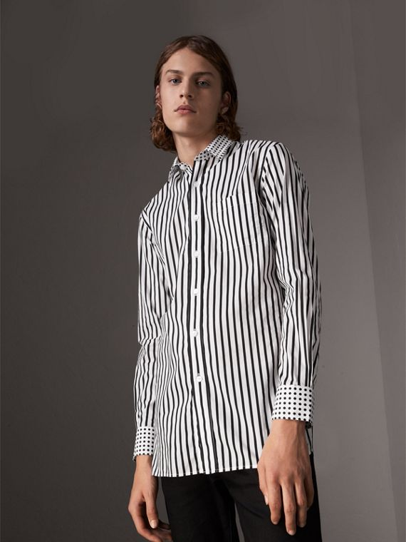 Stripe and Spot Print Cotton Shirt in Black