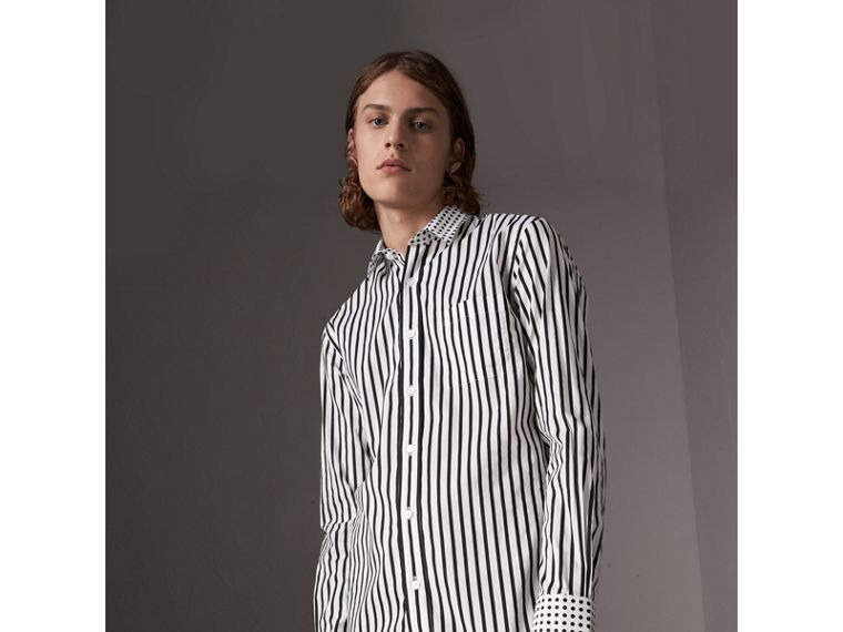 Stripe and Spot Print Cotton Shirt in Black - Men | Burberry Canada - cell image 4