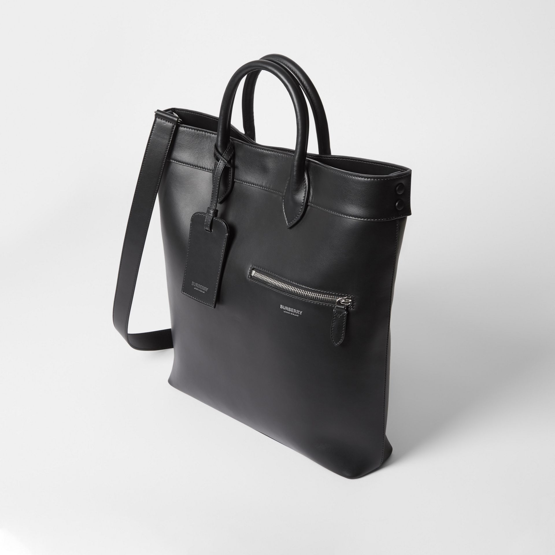 Leather Tote in Black - Men | Burberry United Kingdom - gallery image 4