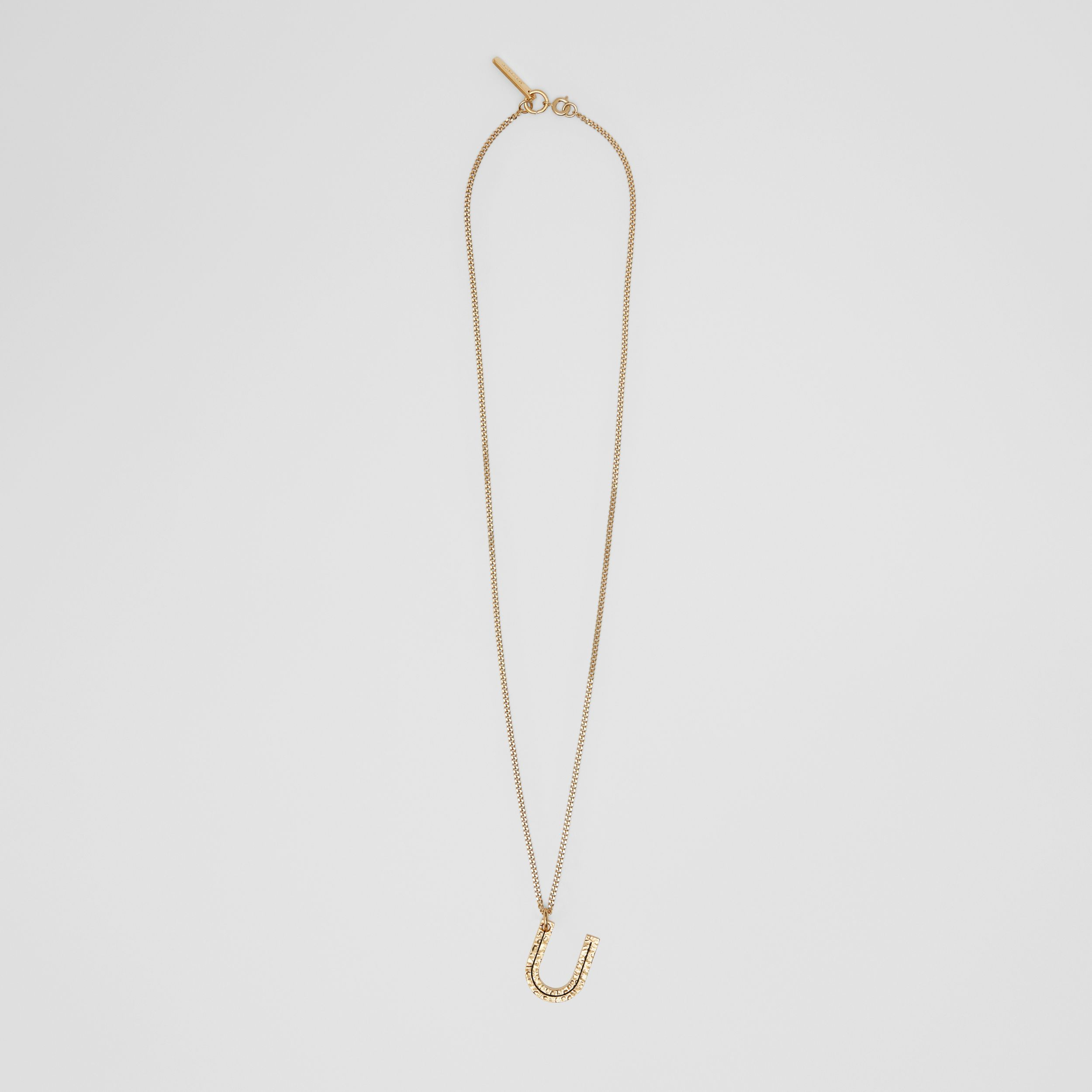 'U' Alphabet Charm Gold-plated Necklace in Light - Women | Burberry - 1