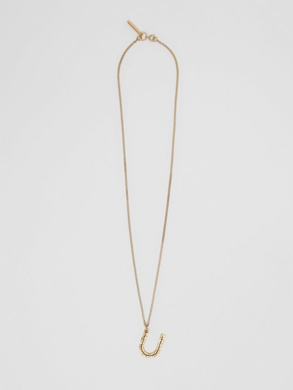 'U' Alphabet Charm Gold-plated Necklace in Light