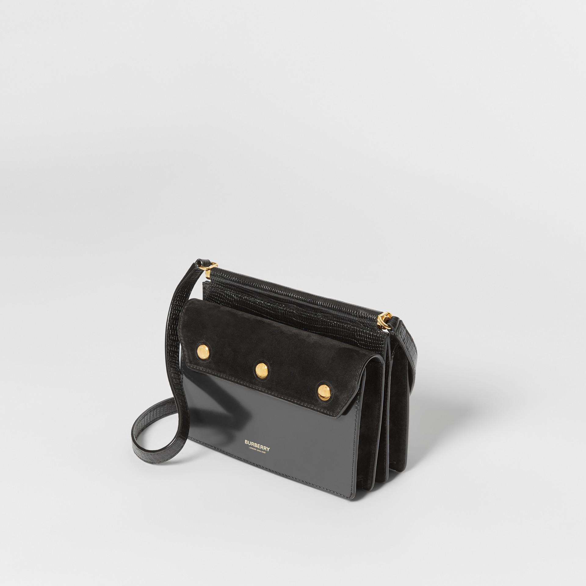 미니 포켓 디테일 스웨이드 레더 타이틀 백 (블랙) - 여성 | Burberry - 갤러리 이미지 3