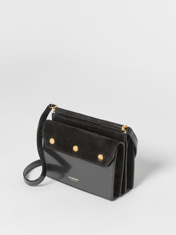 Mini sac Title en cuir et cuir velours avec poche (Noir) - Femme | Burberry - cell image 3