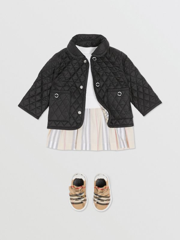 Showerproof Diamond Quilted Jacket in Black - Children | Burberry - cell image 2