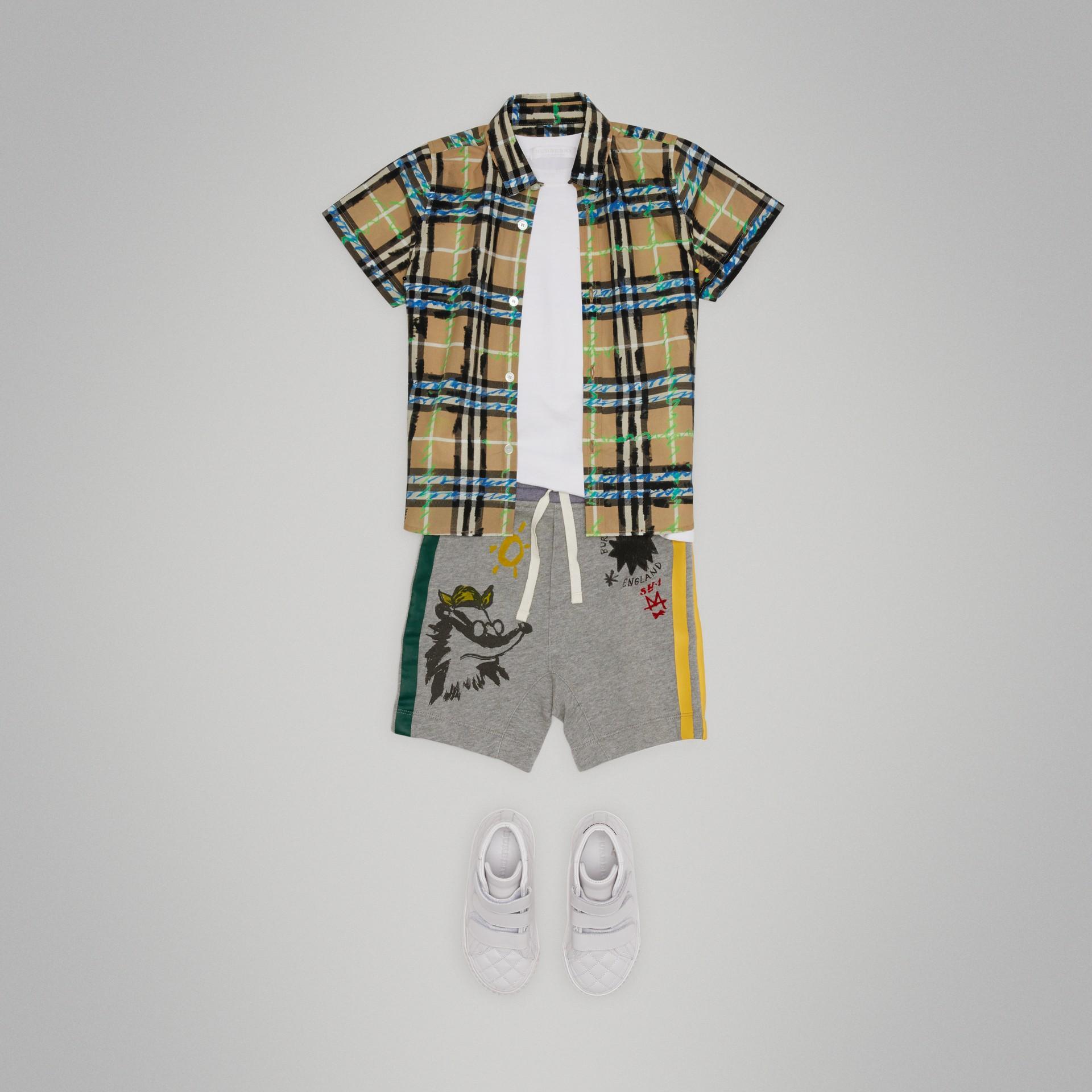 Sketch Print Cotton Drawcord Shorts in Grey Melange - Boy | Burberry Australia - gallery image 0