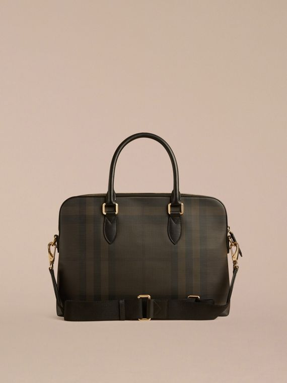 Medium Leather Trim London Check Briefcase in Chocolate/black - Men | Burberry - cell image 3