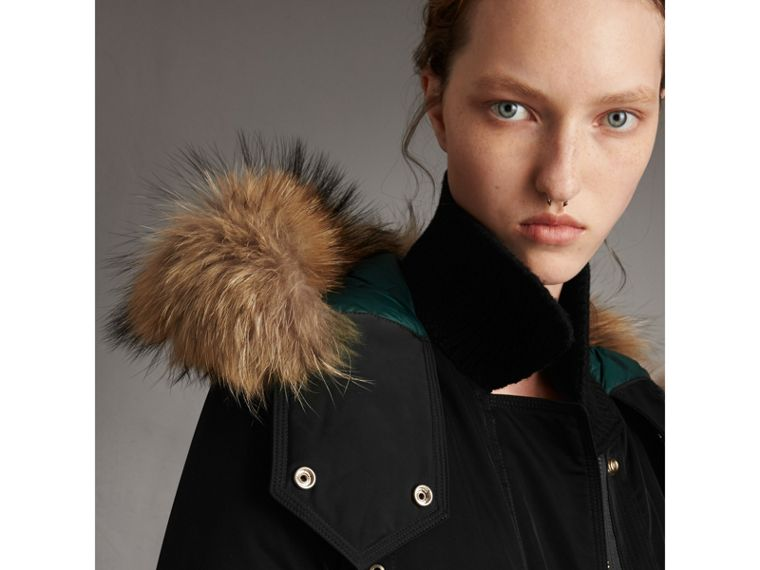 Down-filled Parka Coat with Detachable Fur Trim in Black - Women | Burberry - cell image 1