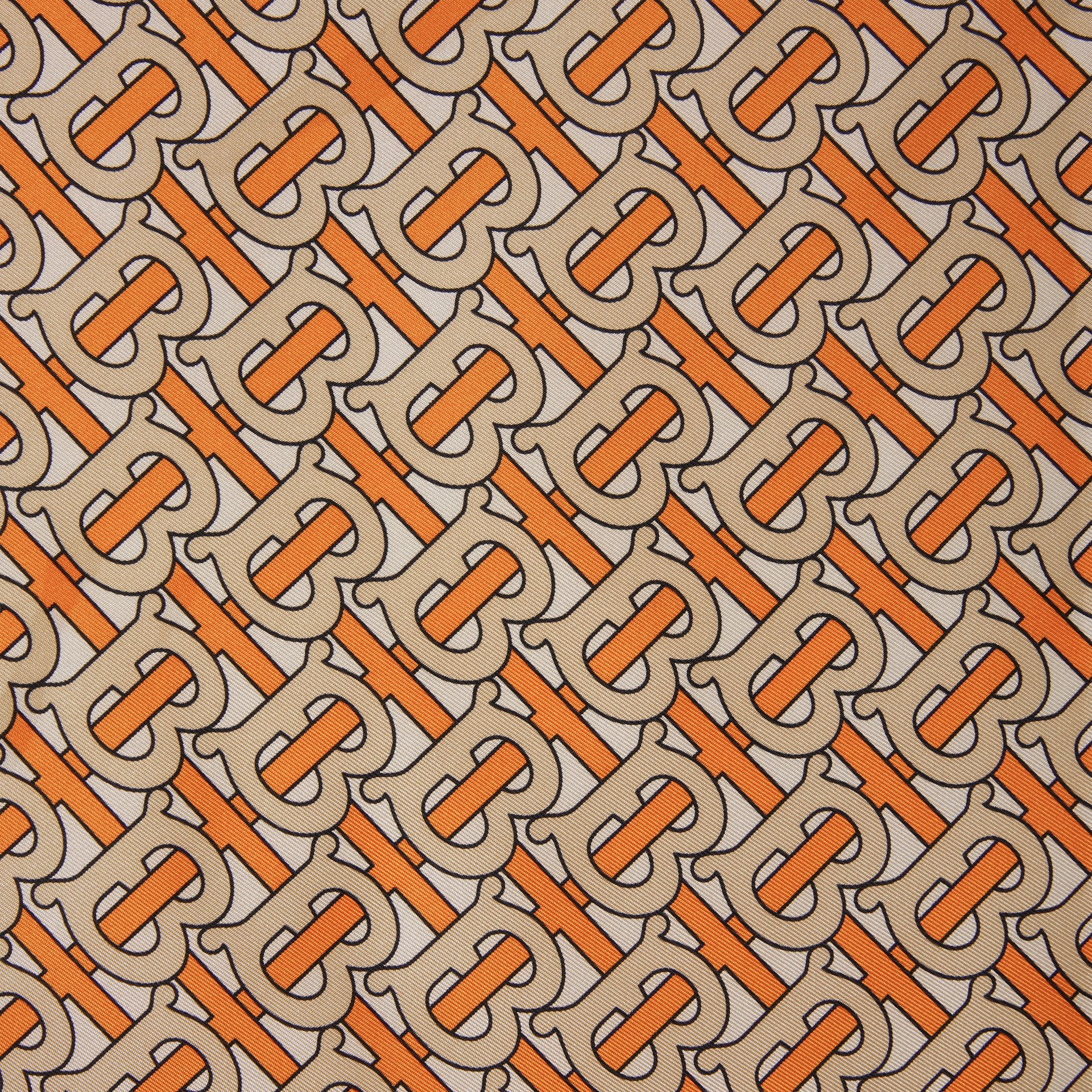 Monogram Print Silk Square Scarf in Bright Orange - Women | Burberry - gallery image 1