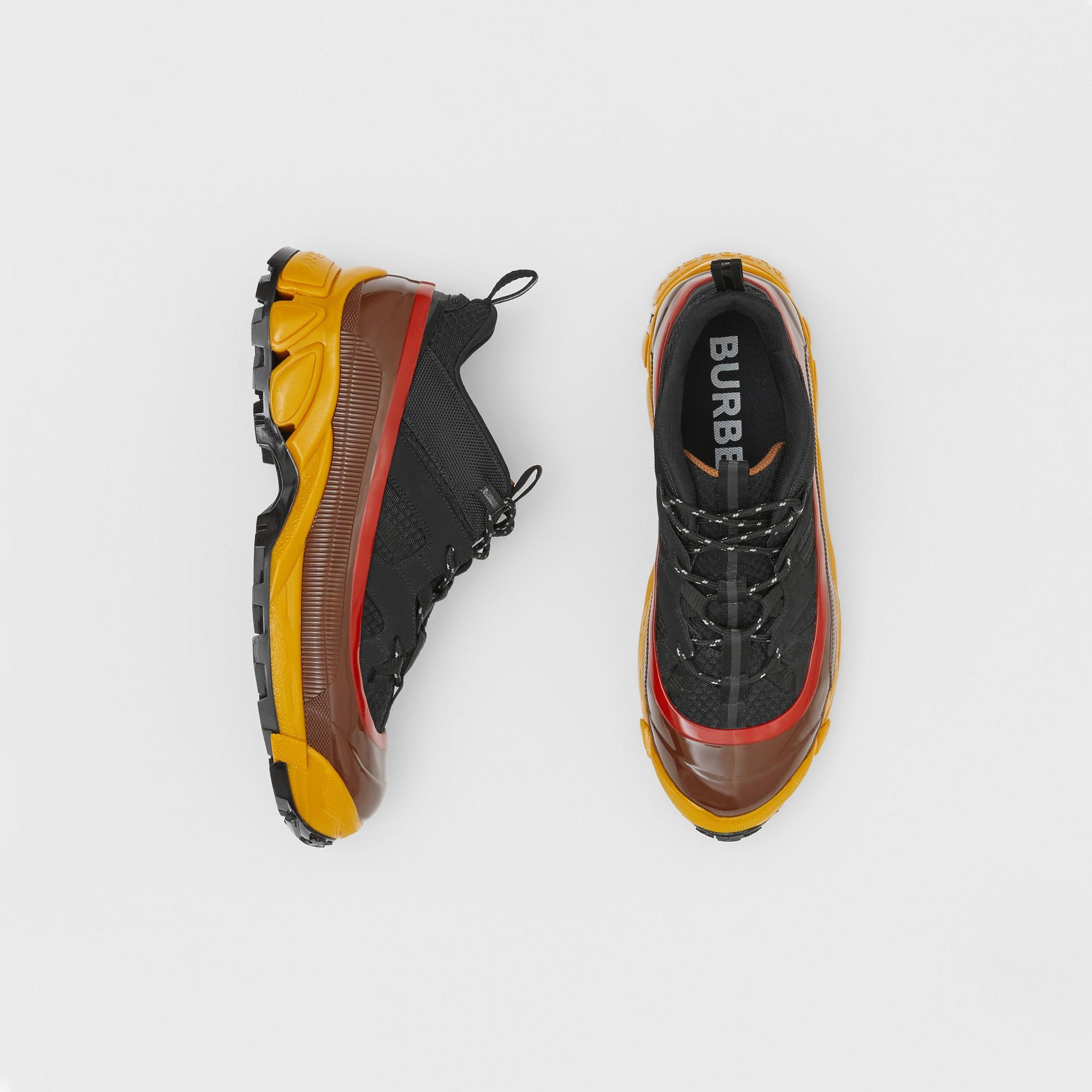 Mesh, Nylon and Nubuck Arthur Sneakers in Black/yellow   Burberry - gallery image 0