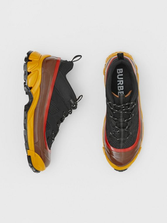 Mesh, Nylon and Nubuck Arthur Sneakers in Black/yellow