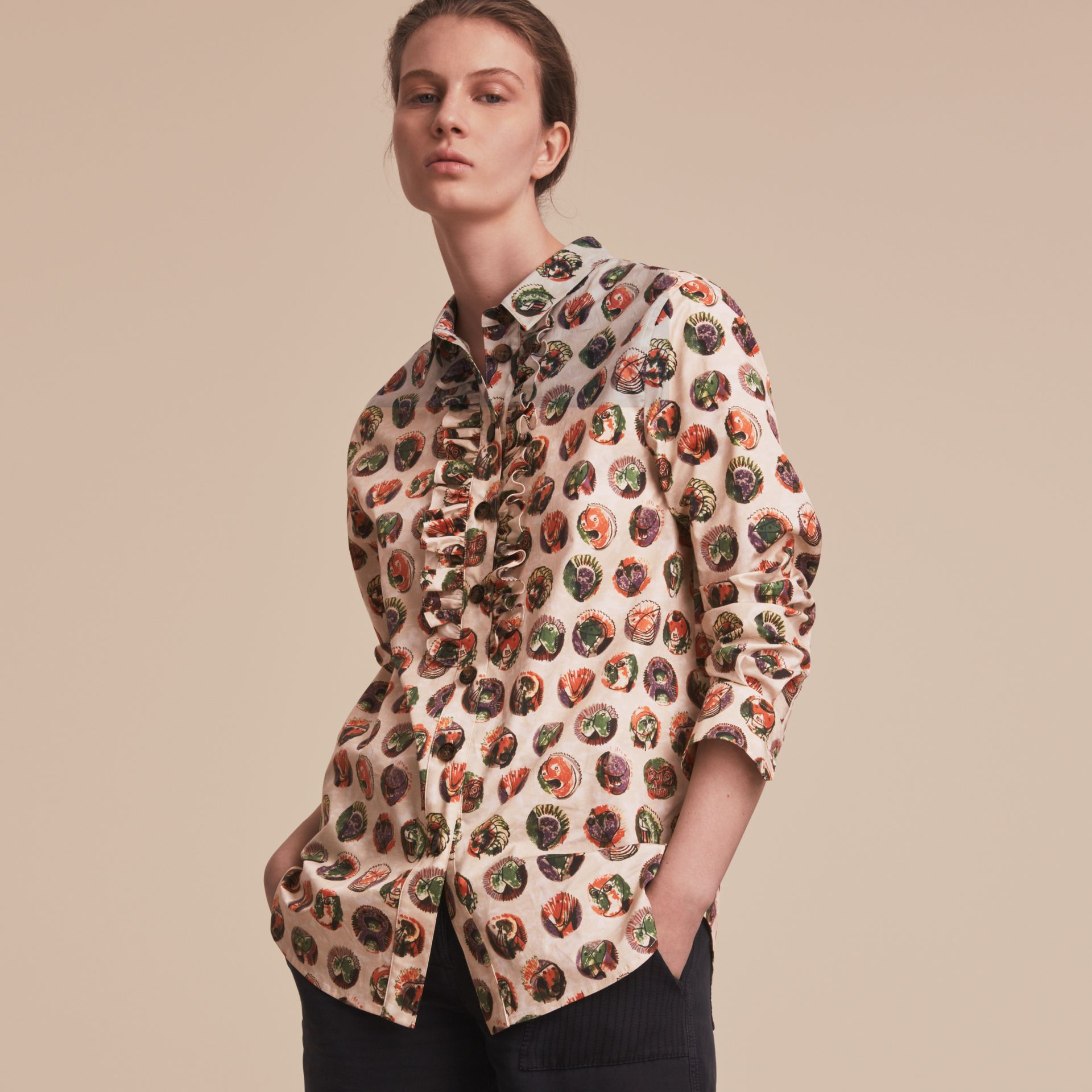 Pallas Heads Print Cotton Shirt in Natural White - Women | Burberry - gallery image 6
