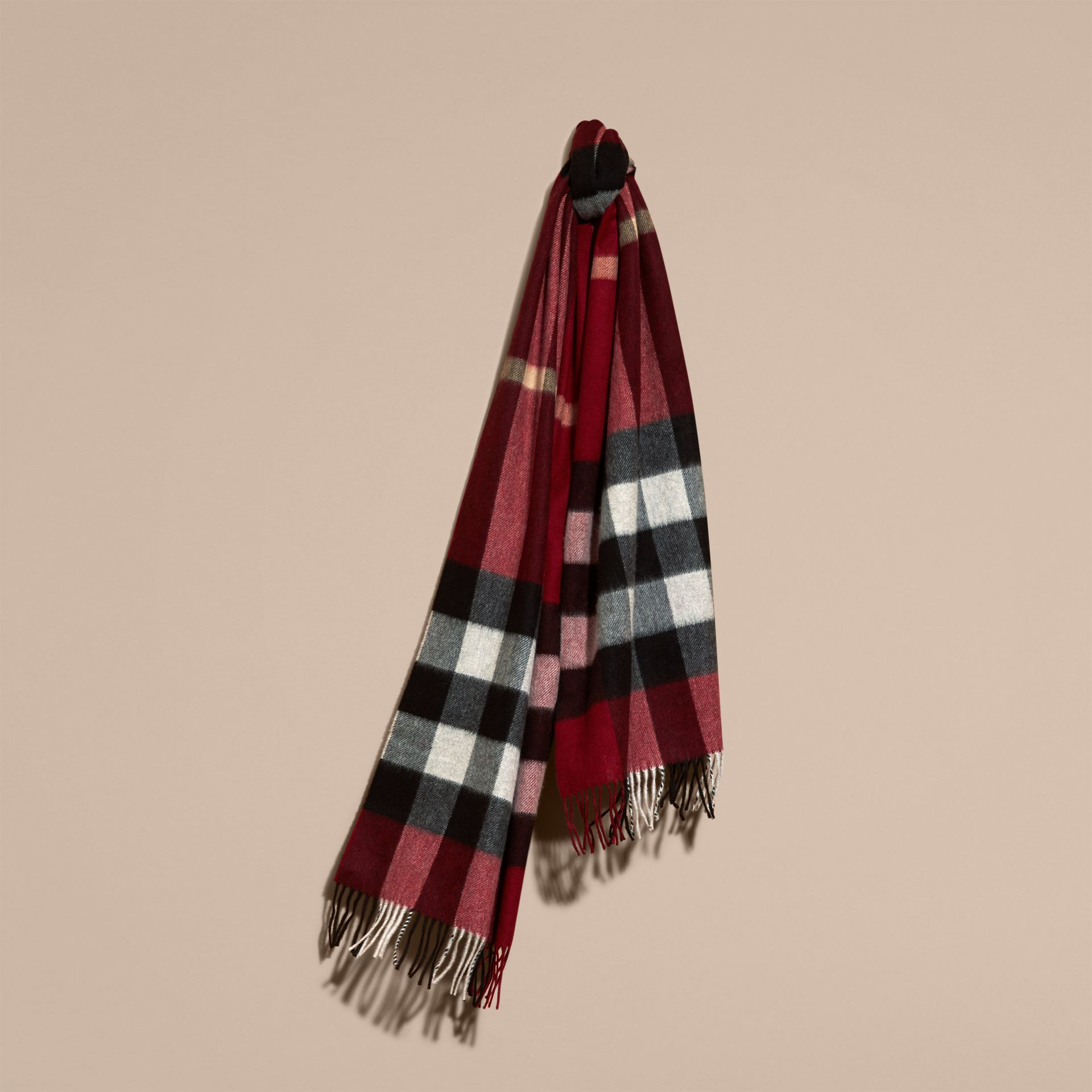 The Large Classic Cashmere Scarf in Check in Parade Red - gallery image 6