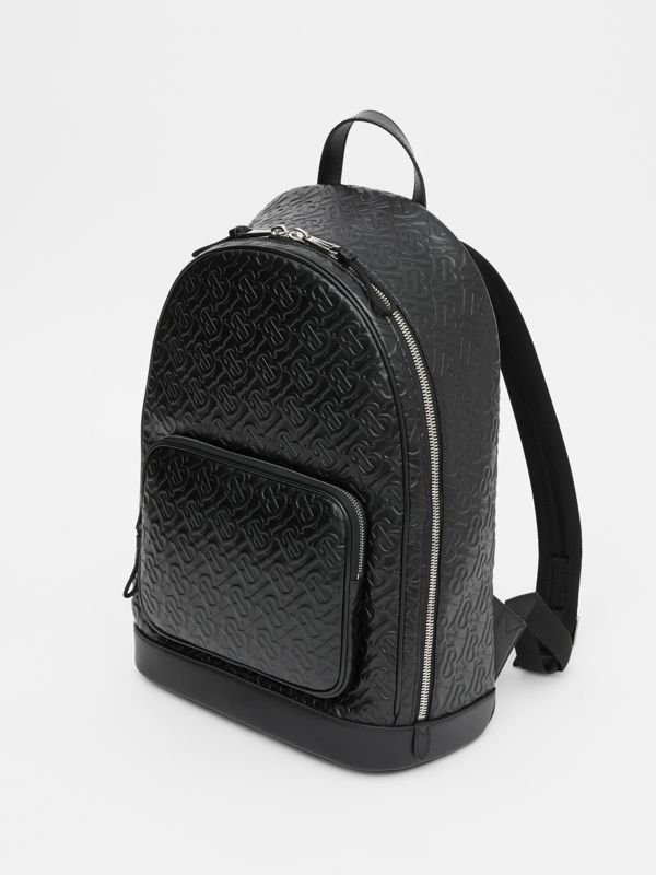 Monogram Leather Backpack in Black - Men | Burberry - cell image 3