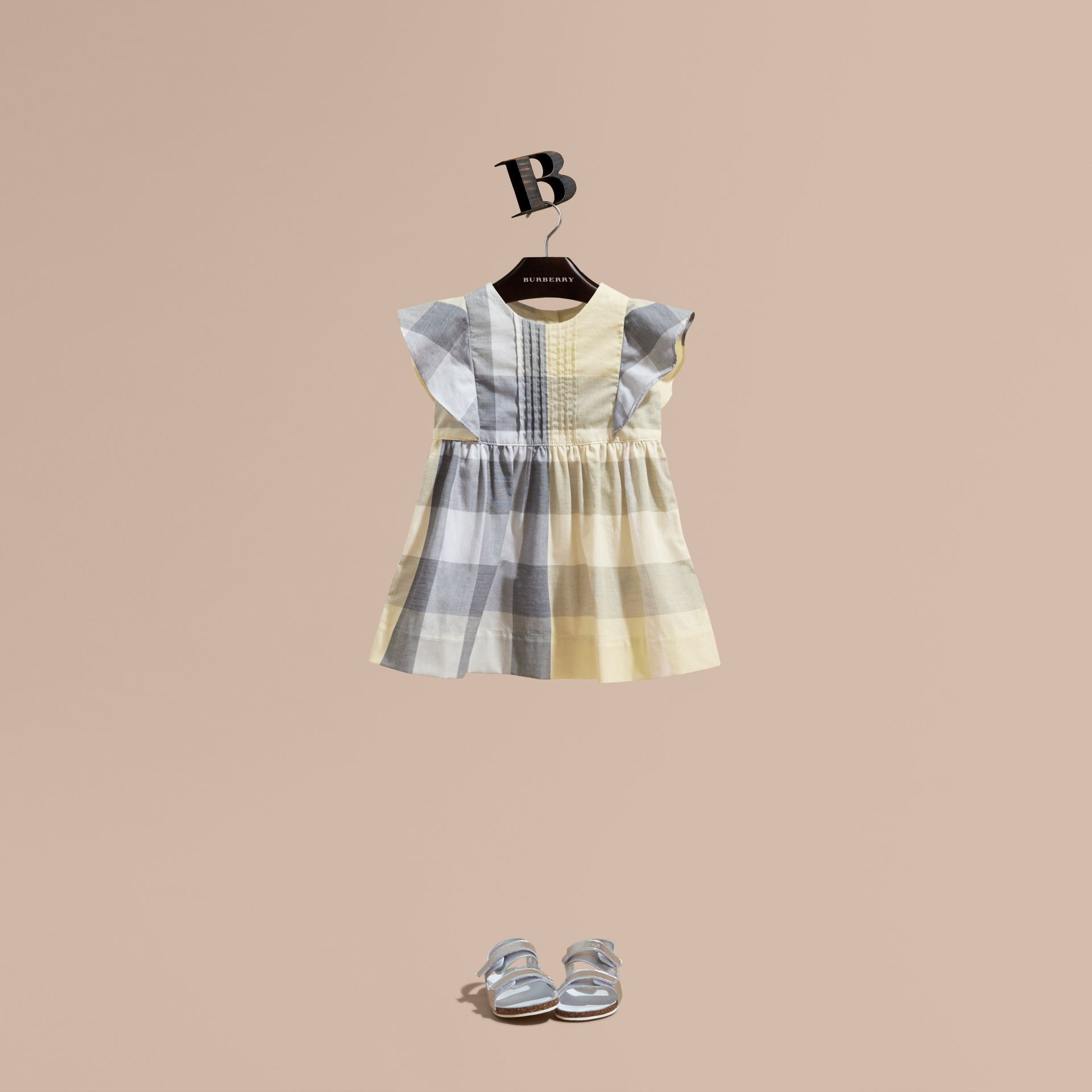 Ruffle Detail Check Cotton Dress in Pale Yellow | Burberry - gallery image 1