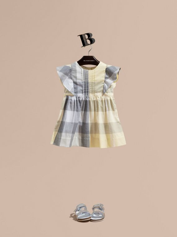 Ruffle Detail Check Cotton Dress in Pale Yellow