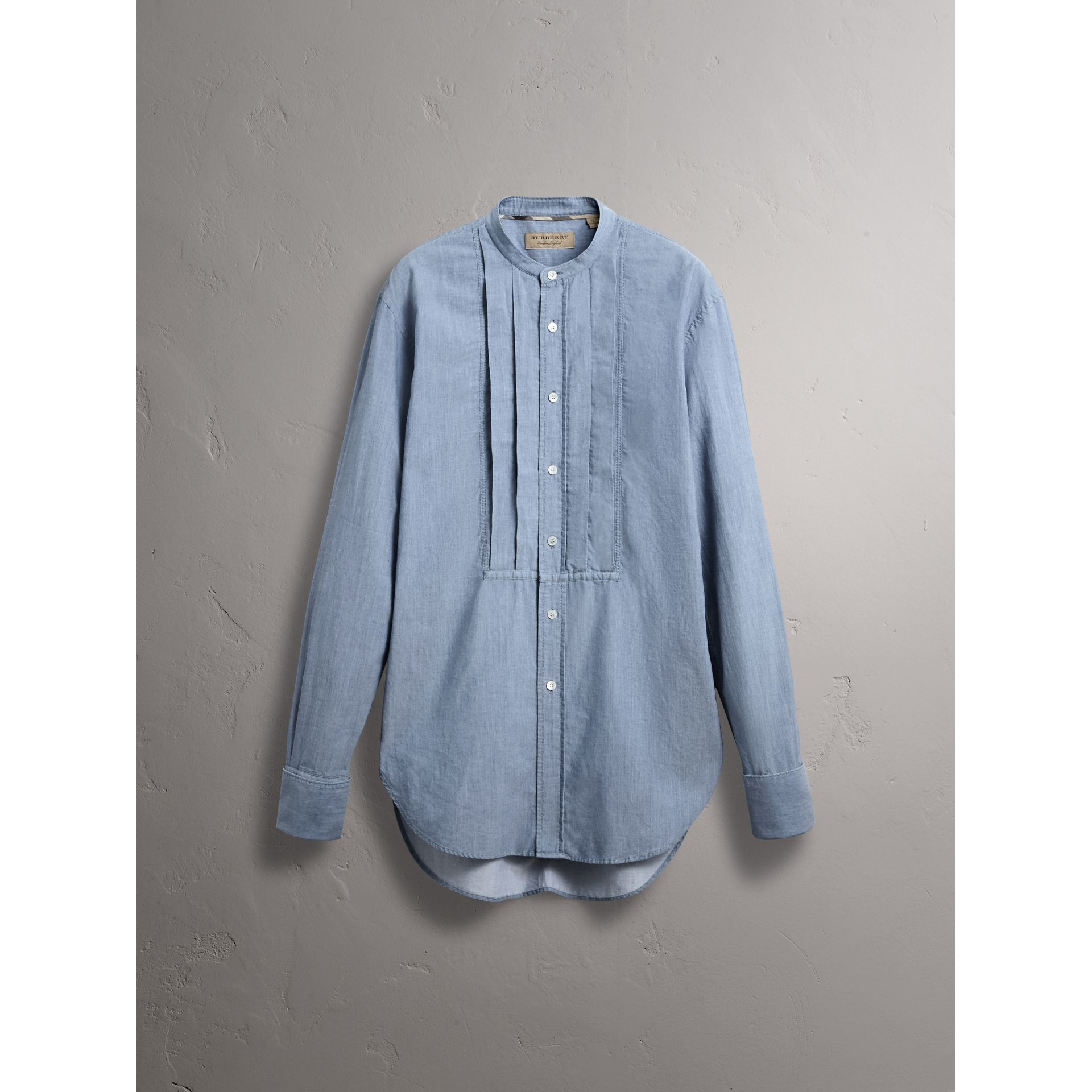 Grandad Collar Pleated Bib Cotton Shirt in Denim Blue - Men | Burberry - gallery image 4