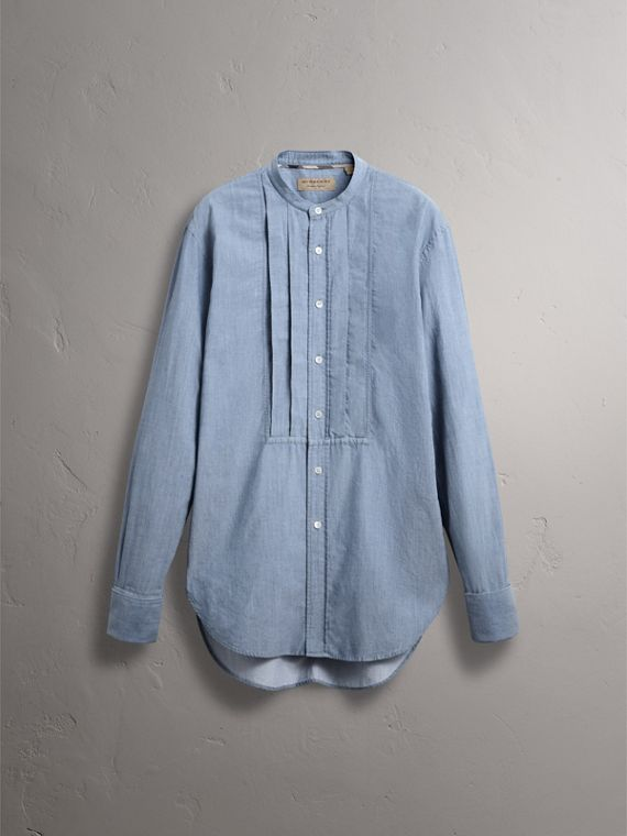 Grandad Collar Pleated Bib Cotton Shirt in Denim Blue - Men | Burberry Australia - cell image 3