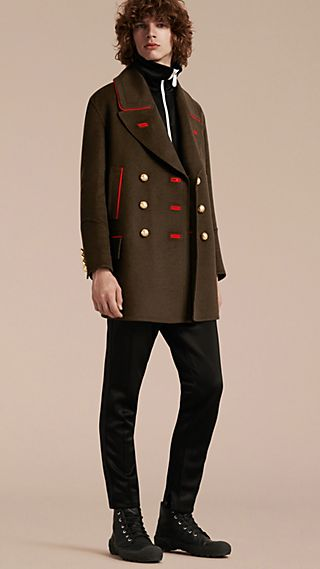 Cashmere Wool Military Pea Coat