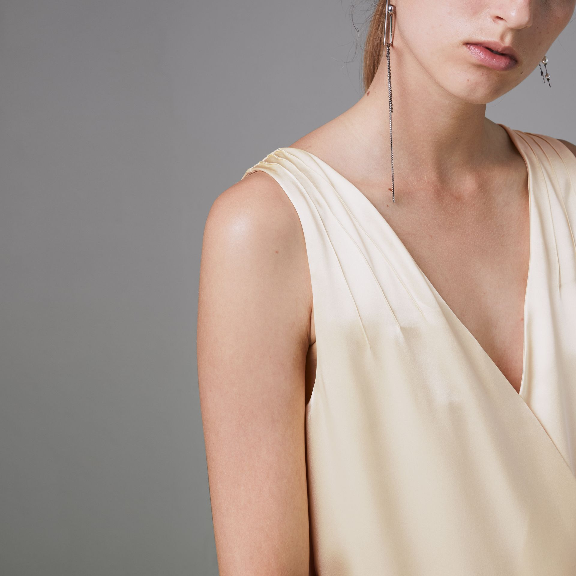 Silk Satin and Lace Sleeveless Dress in Cream - Women | Burberry Canada - gallery image 1