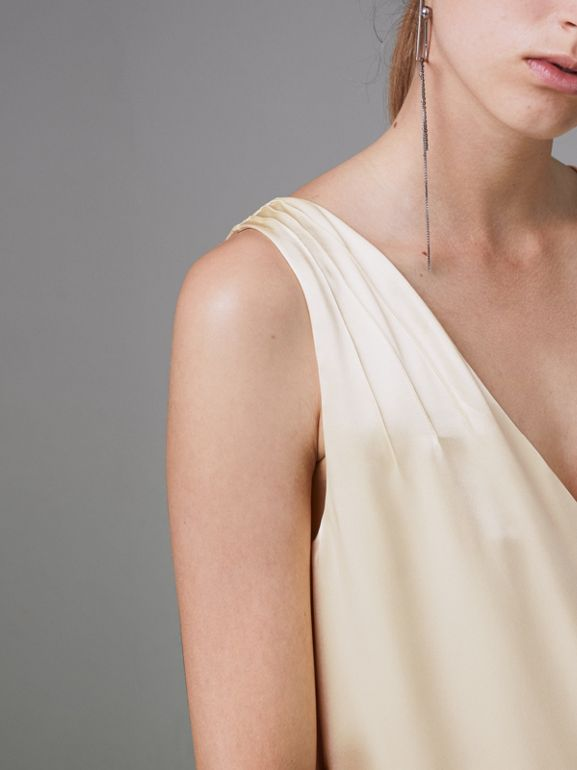 Silk Satin and Lace Sleeveless Dress in Cream - Women | Burberry - cell image 1
