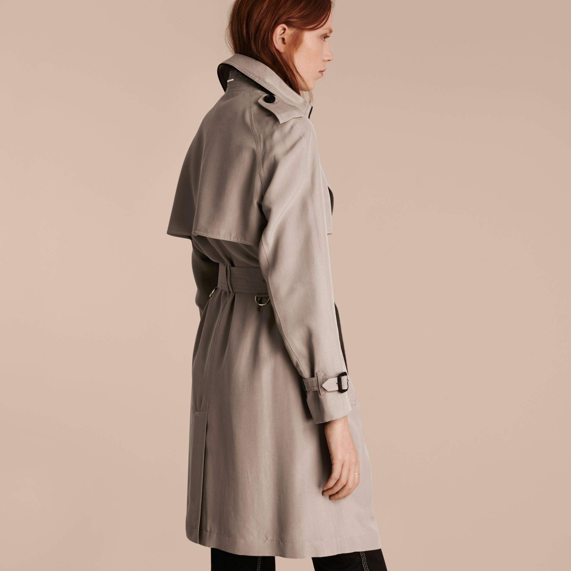Pale taupe Oversize Detail Silk Trench Coat Pale Taupe - gallery image 3