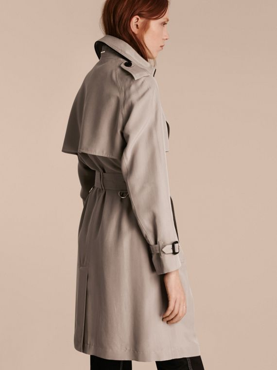 Pale taupe Oversize Detail Silk Trench Coat Pale Taupe - cell image 2