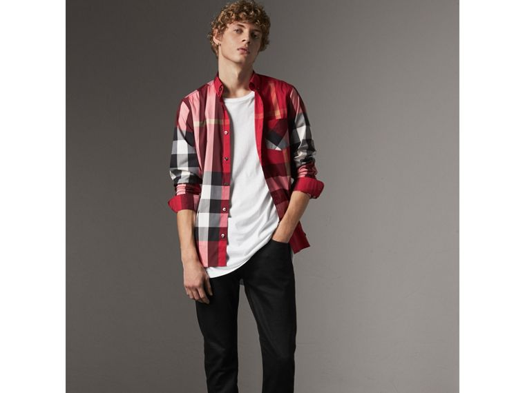 Button-down Collar Check Stretch Cotton Blend Shirt in Parade Red - Men | Burberry - cell image 4