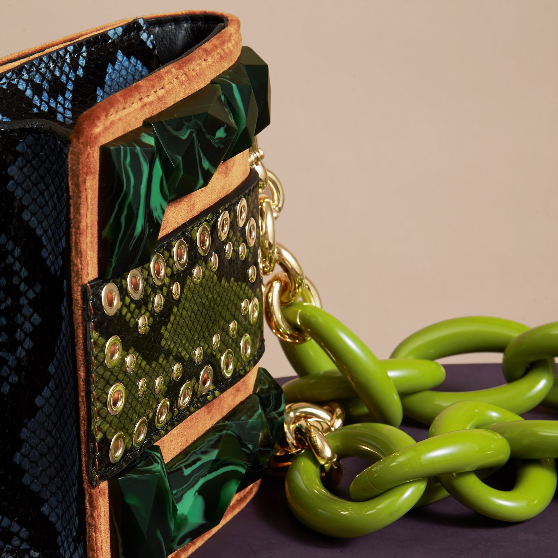 The Mini Square Buckle Bag in Velvet and Snakeskin - gallery image 4