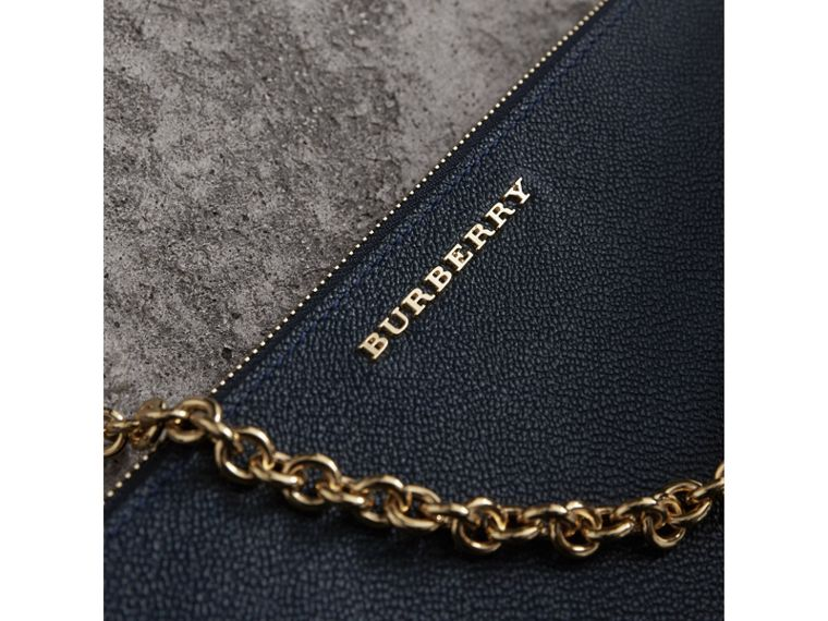 Leather Clutch Bag with Check Lining in Blue Carbon - Women | Burberry Canada - cell image 1