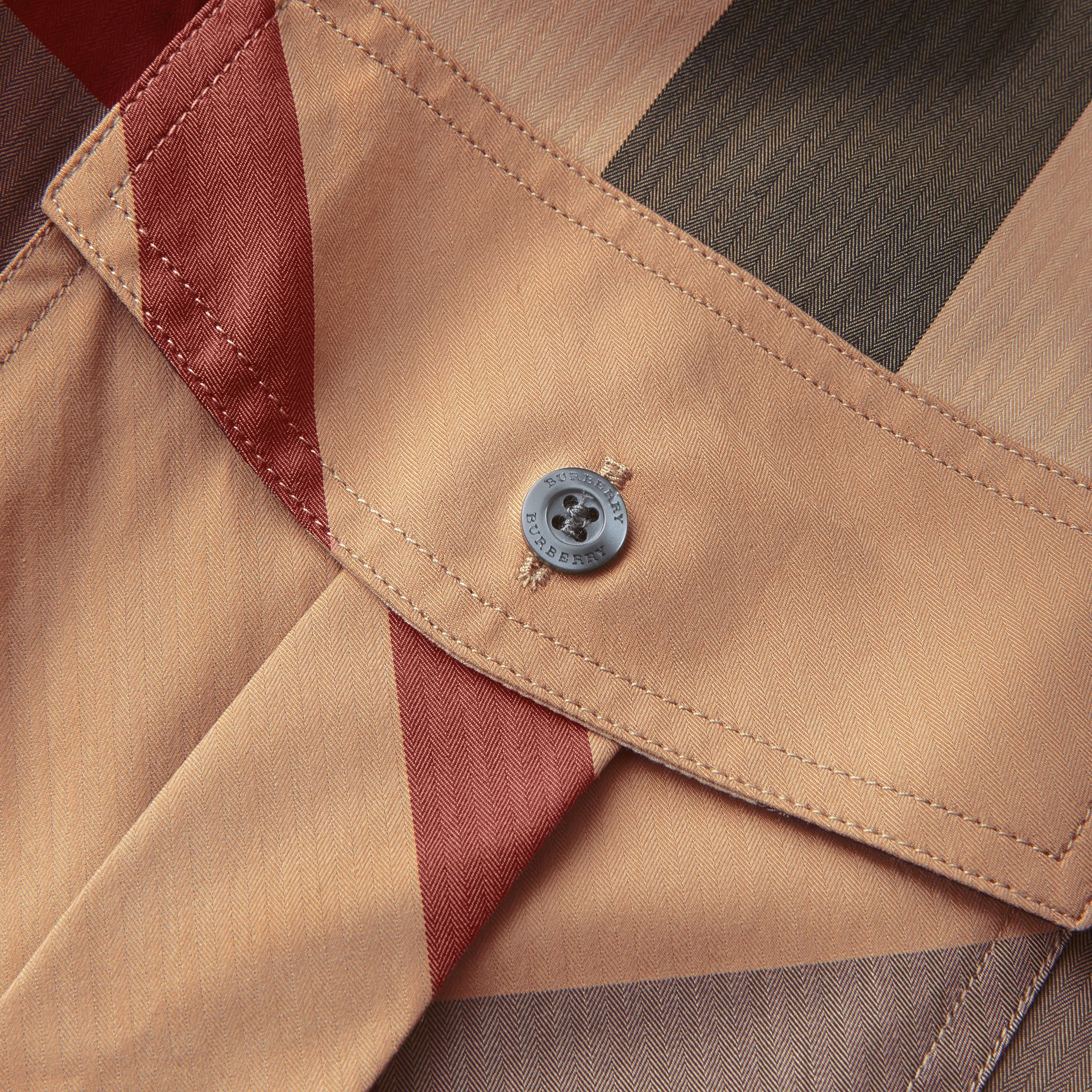 Check Cotton Blend Shirt with Military Detail in Camel - Men | Burberry Hong Kong - gallery image 2