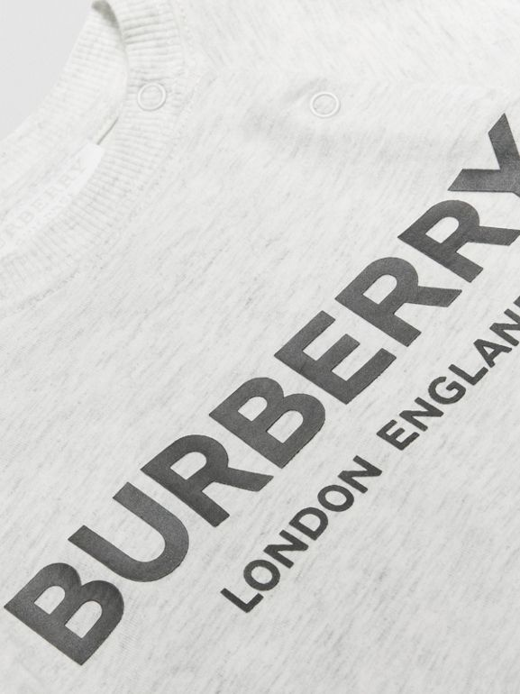 Logo Print Cotton Three-piece Baby Gift Set in White Melange - Children | Burberry Singapore - cell image 1