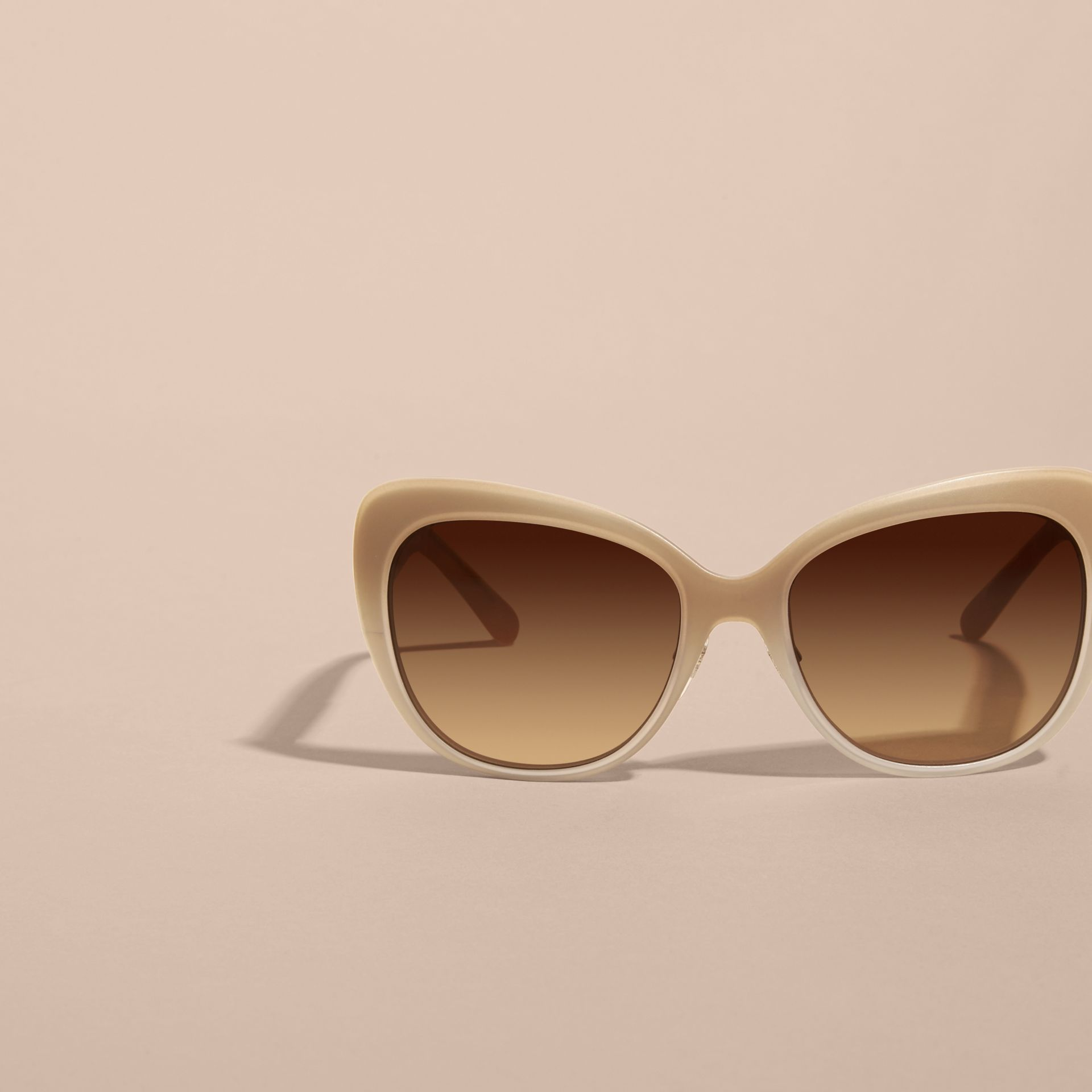 Check Detail Square Cat-eye Sunglasses in Chino Grey - gallery image 3