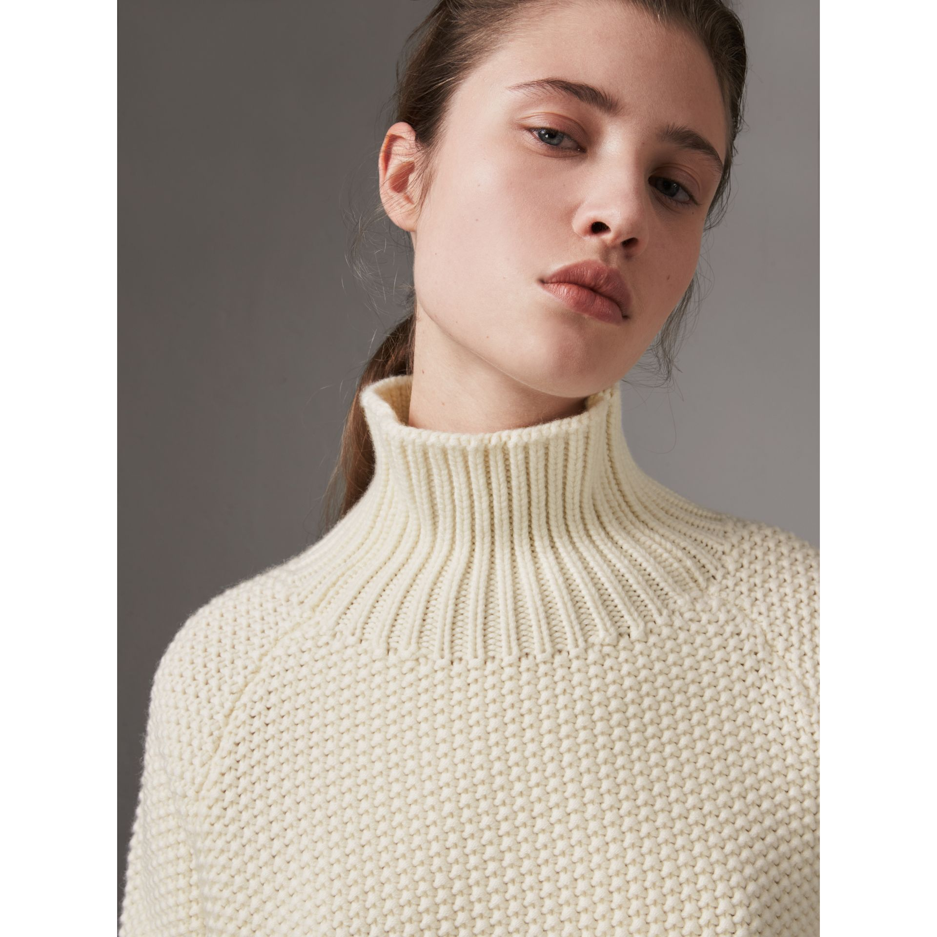 Cashmere Roll-neck Sweater in Natural White - Women | Burberry United Kingdom - gallery image 1