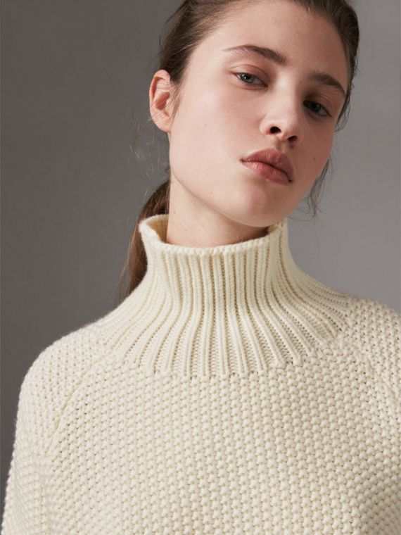 Cashmere Roll-neck Sweater in Natural White