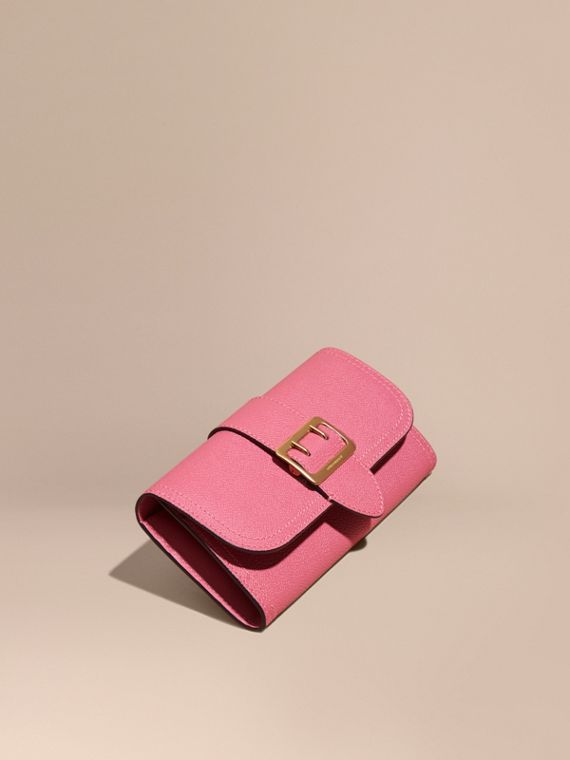Textured Leather Continental Wallet Pink Azalea