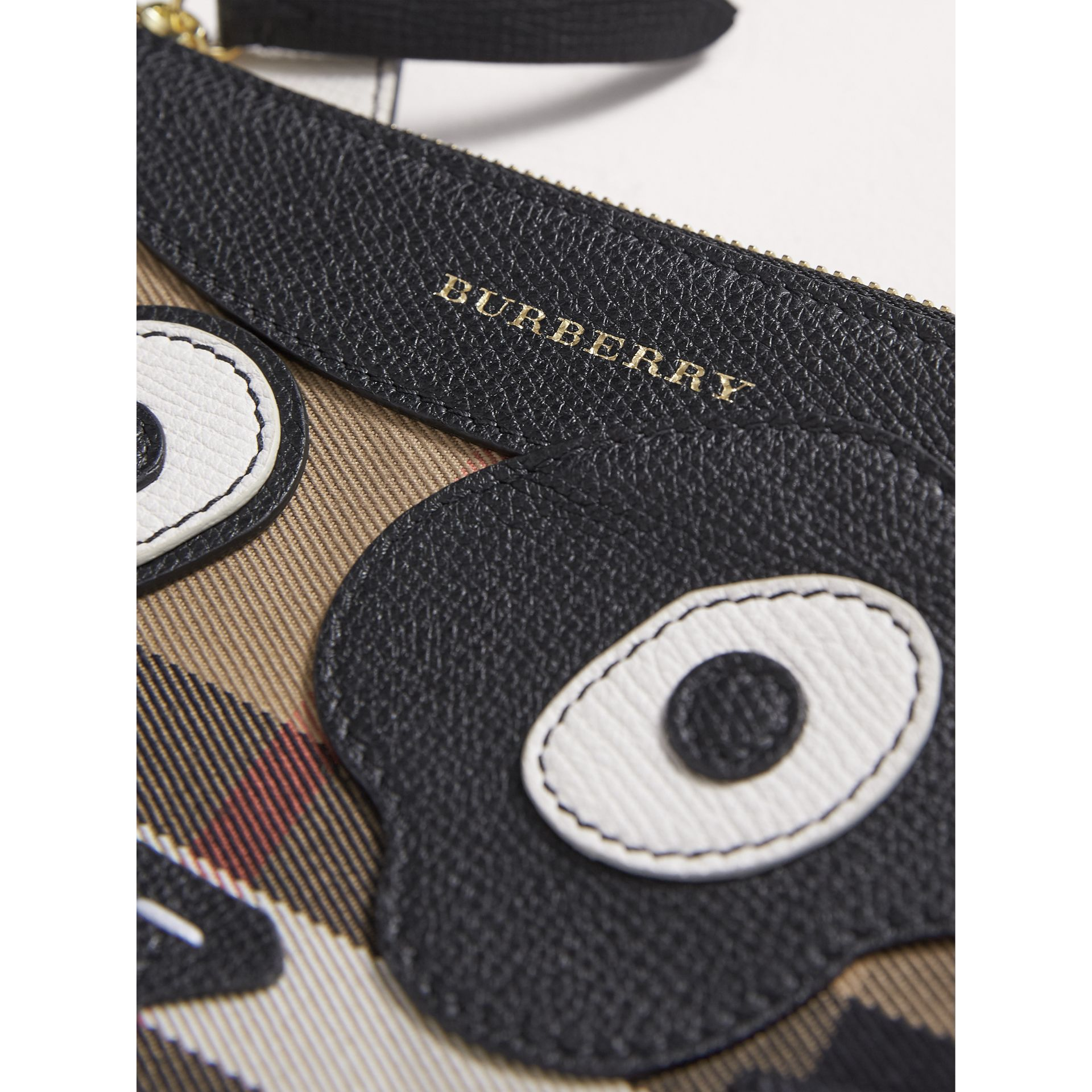 Cat Motif Leather and House Check Crossbody Bag in Black - Girl | Burberry Australia - gallery image 1