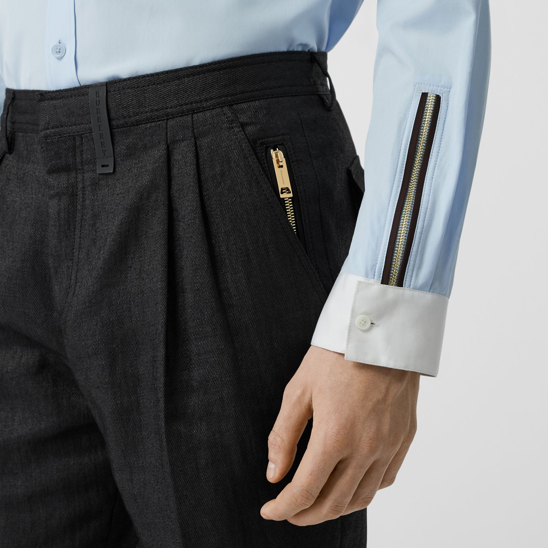 Zip Detail Linen Blend Pleated Trousers in Black - Men | Burberry - gallery image 5