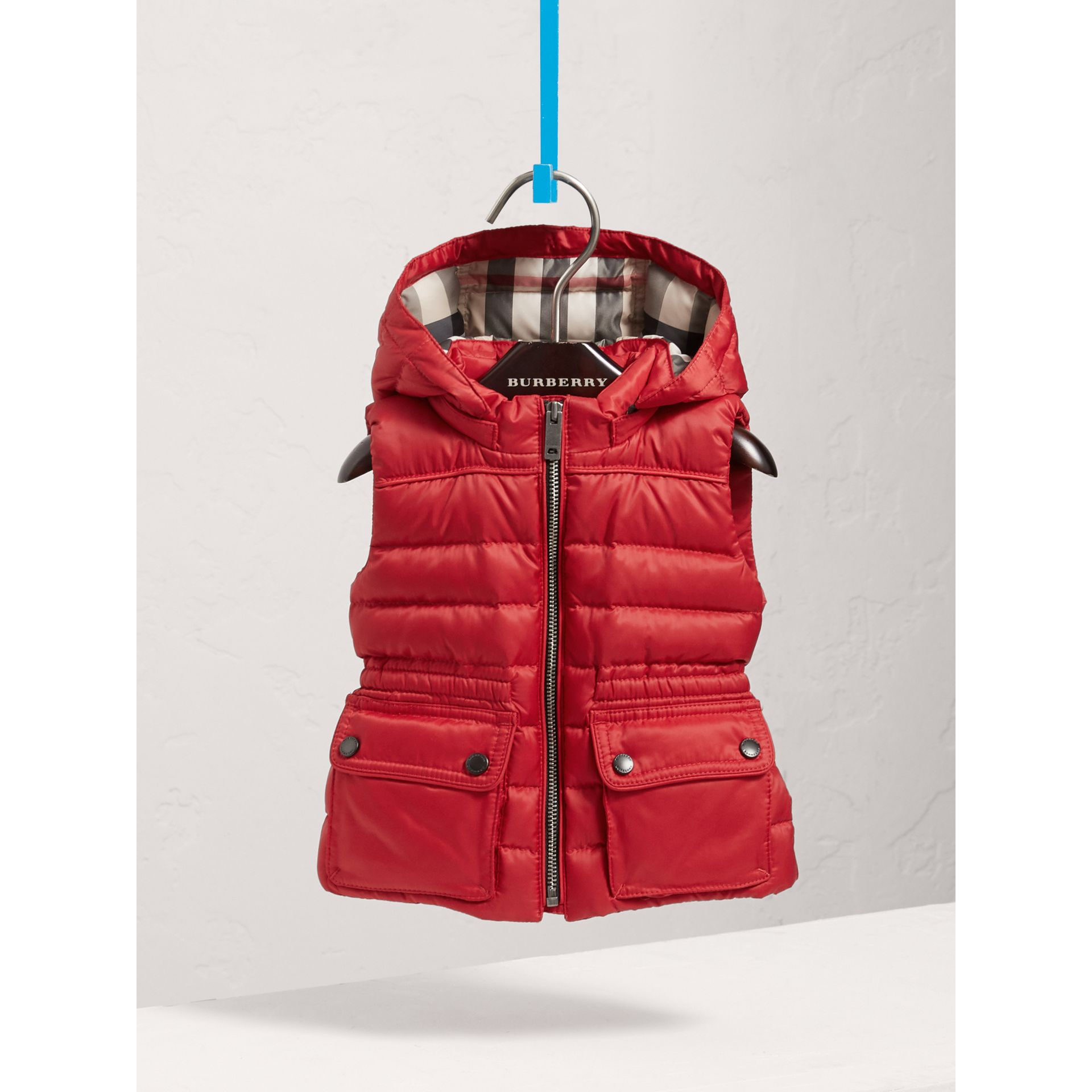 Detachable Hood Down-filled Gilet in Bright Cherry Red | Burberry - gallery image 0