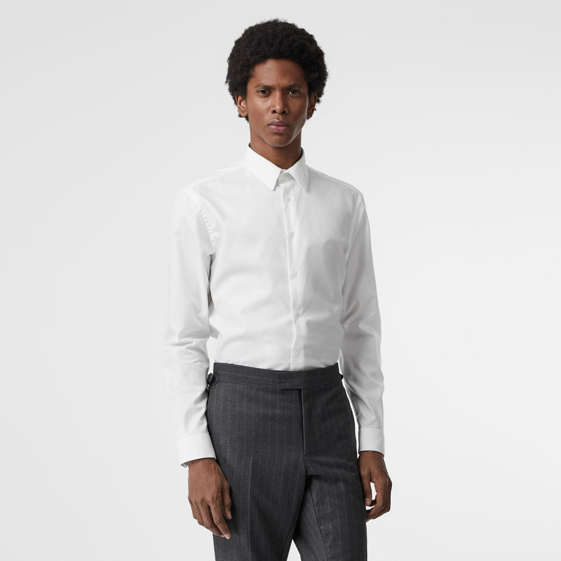 Modern Fit Cotton Shirt in White - Men | Burberry Australia - gallery image 0