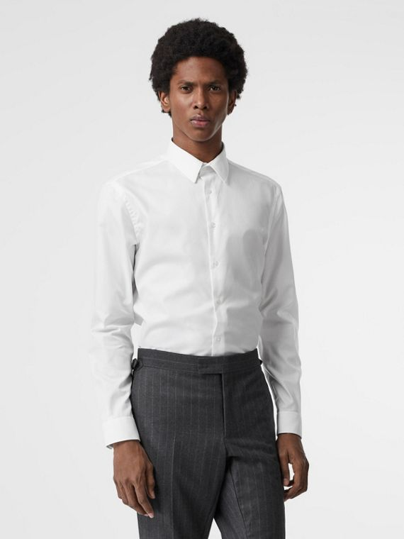 Modern Fit Cotton Shirt in White