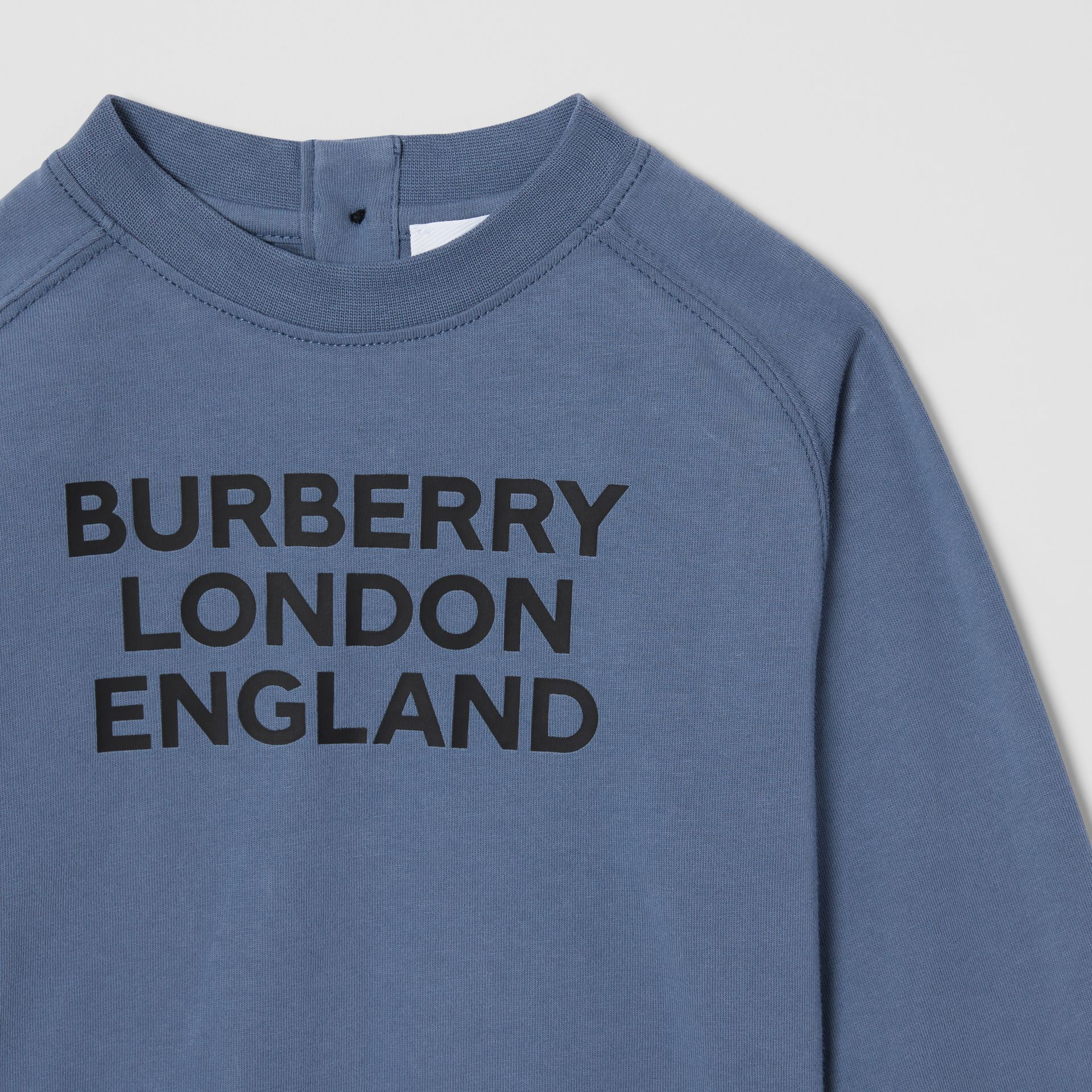 Long-sleeve Logo Print Cotton Top in Steel Blue - Children   Burberry United Kingdom - gallery image 4