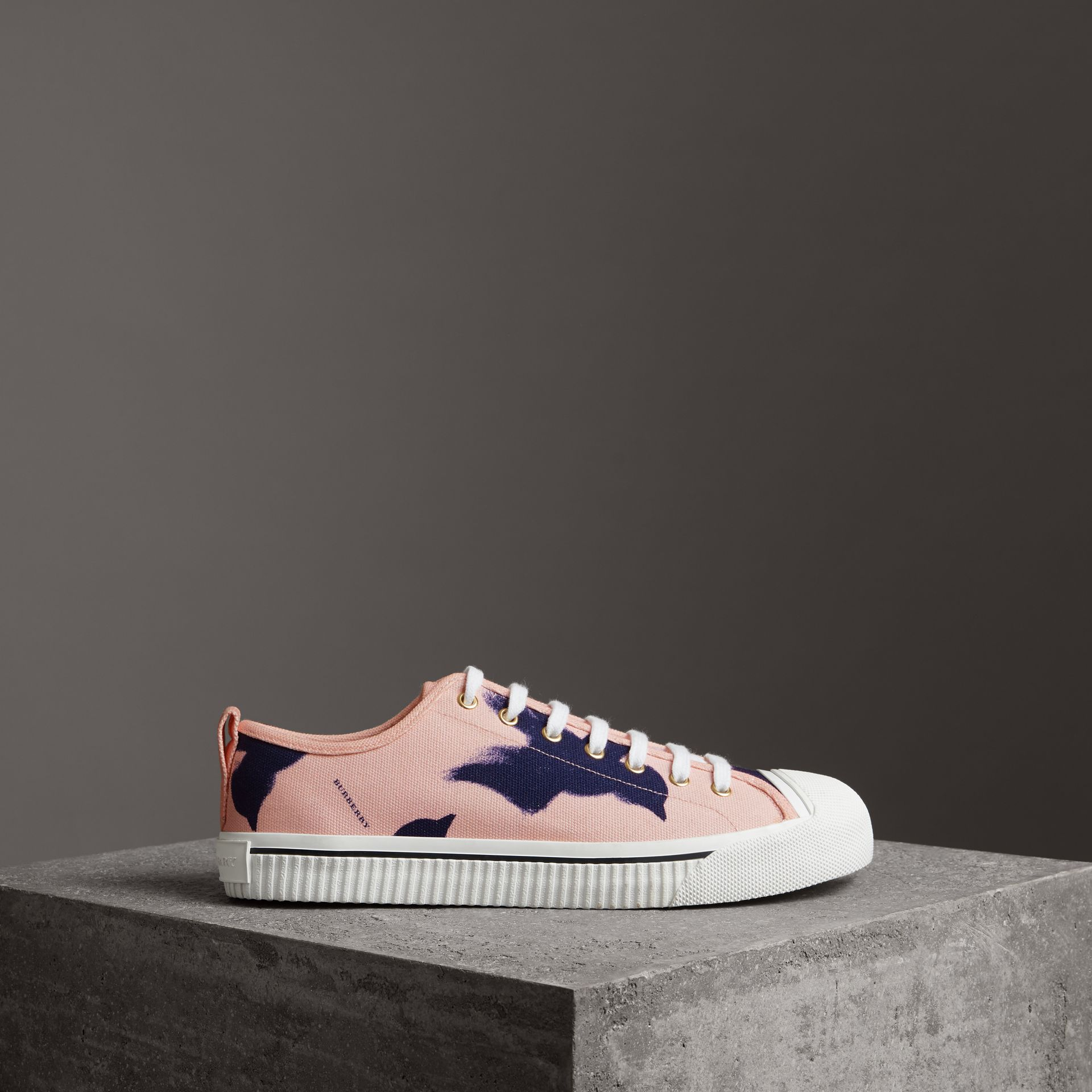 Bird Print Canvas Sneakers in Apricot Pink - Men | Burberry - gallery image 0