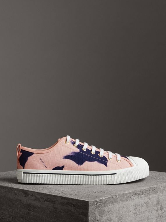 Bird Print Canvas Sneakers in Apricot Pink